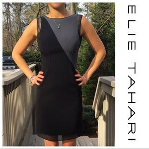 Elie Tahari Asymmetrical Color Block Sheath Dress
